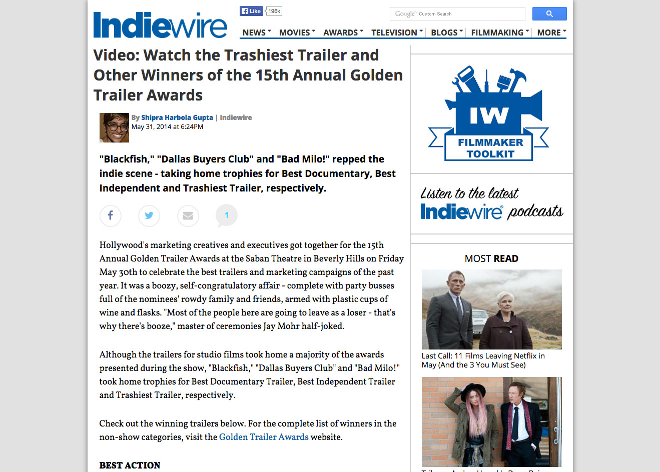 Indiewire 15th Annual Golden